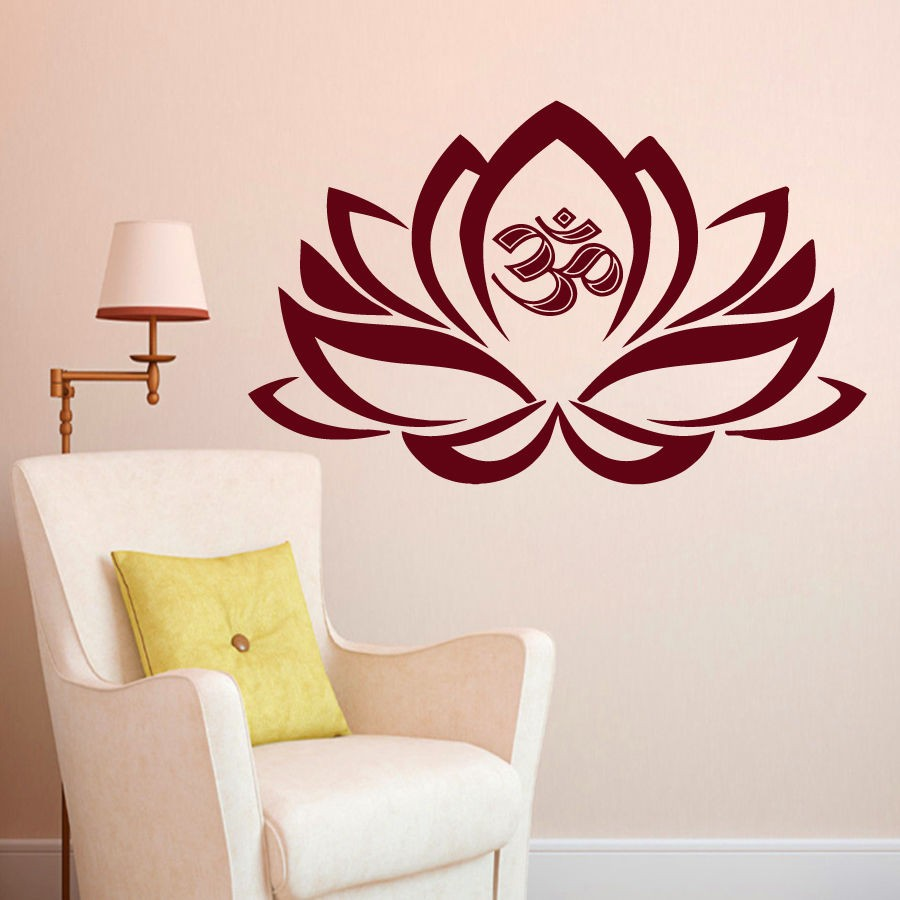 Wall Decals Lotus Flower Om Decal Vinyl Sticker Yoga Studio