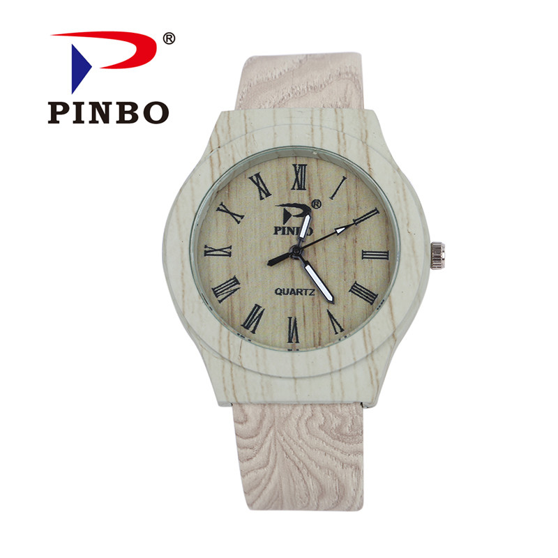 90ed34b8c89 2016 Nova Marca PINBO Vintage Grão de Madeira de Couro Analógico Casuais  Relógio De Quartzo Das Mulheres Vestido Relógios Relogio feminino Relógio  Hot Sale