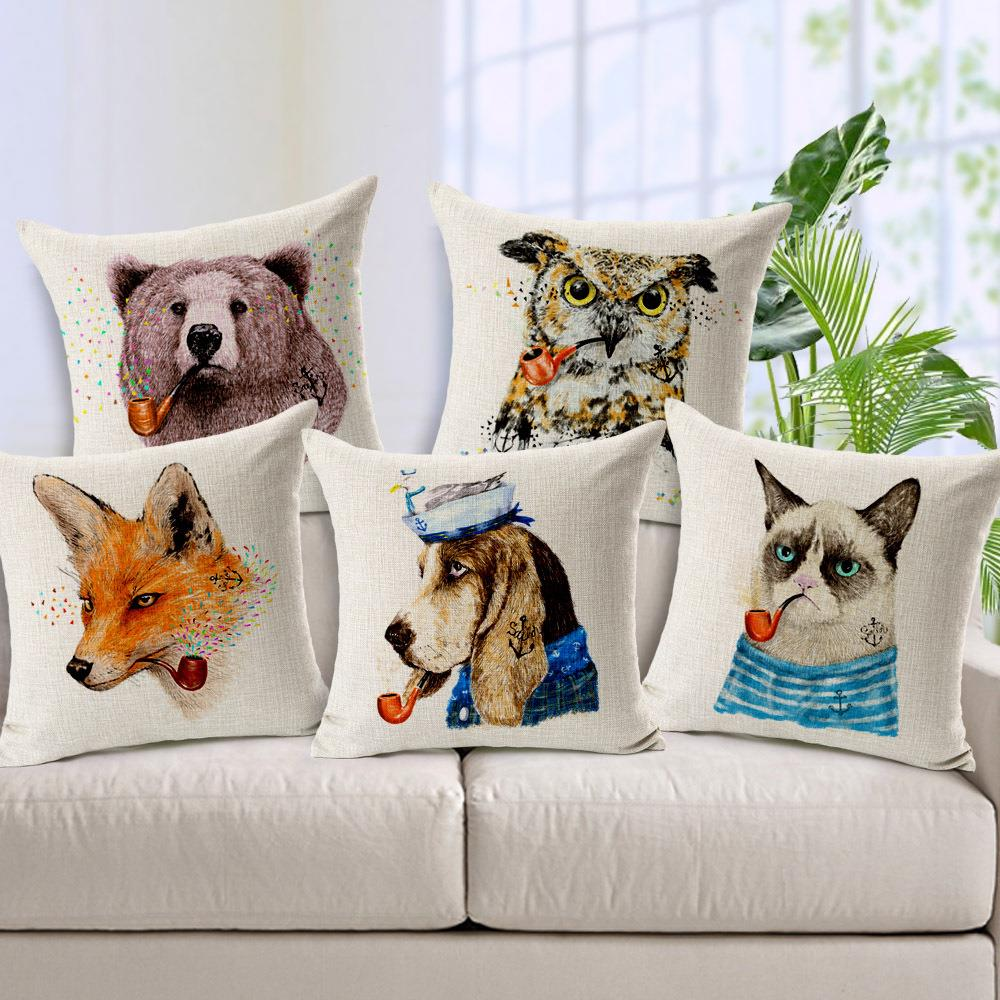 Hand draw cartoon alimals with tobacco pipe animals decorative pillows cover linen chair cover