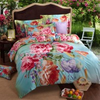 Wholesale fashion colorful big flower blue queen king size ...