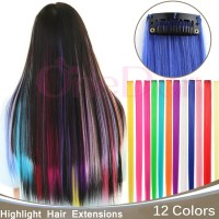 "23""10pcs Single Color Hairpiece Straight Synthetic Hair ..."