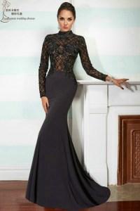 Long sleeve prom dress 2015 MP1003 elegant long black ...