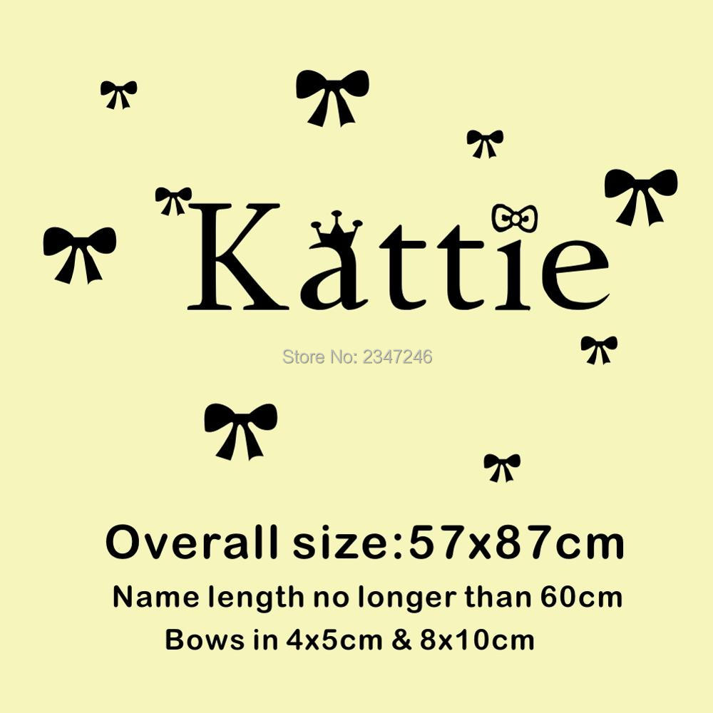 ᑎ‰Custom Personalized Girls Name Wall Stickers Butterfly Knot Wall ...