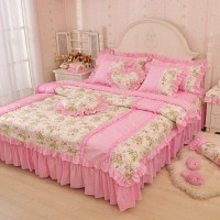 Luxury Pink Green Blue ruffle bedding set twin full queen ...