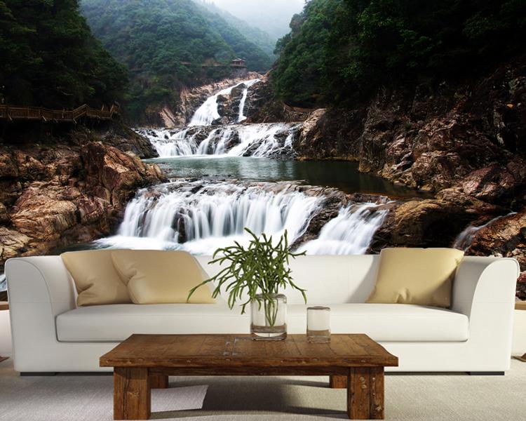24c5430d7 ᗛPersonalizado mural 3D escalera cae río agua Valle mural salón ...