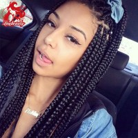 Natural Black Box Braid Wig Synthetic Lace Front Micro