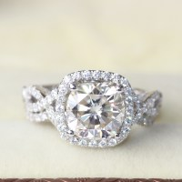Genuine 14k 585 White Gold 3 Carat Cushion Cut Moissanite ...