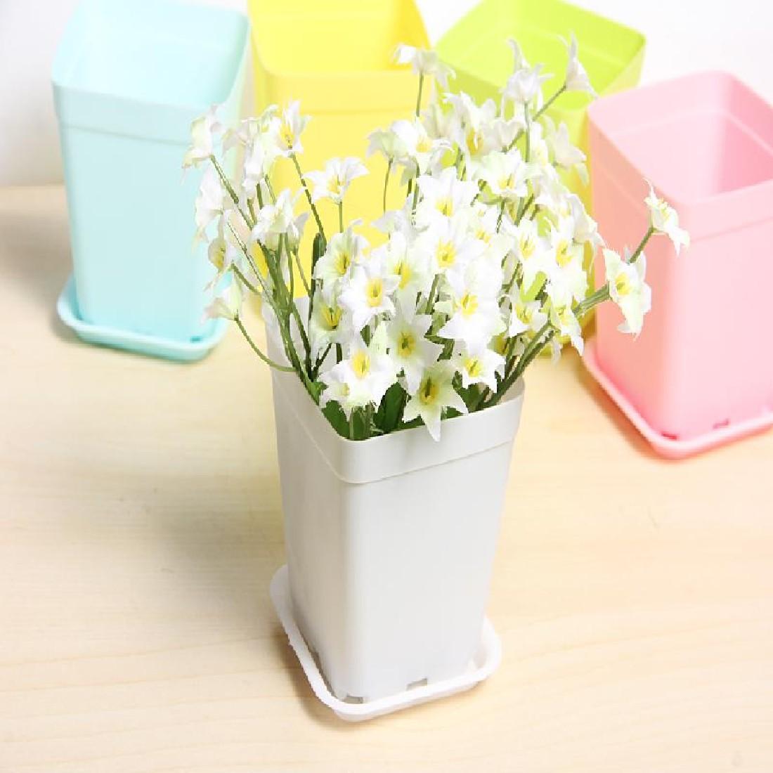6pcspack Flower Pot Square Plastic Planter Nursery Garden Desk