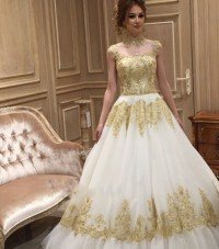 Aliexpress.com : Buy White Ivory Wedding Dress Gold High ...