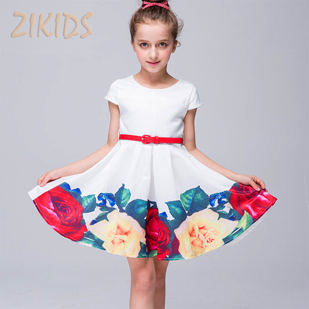 Girls Summer Dress Cute Casual Print Flowers Girl Dresses