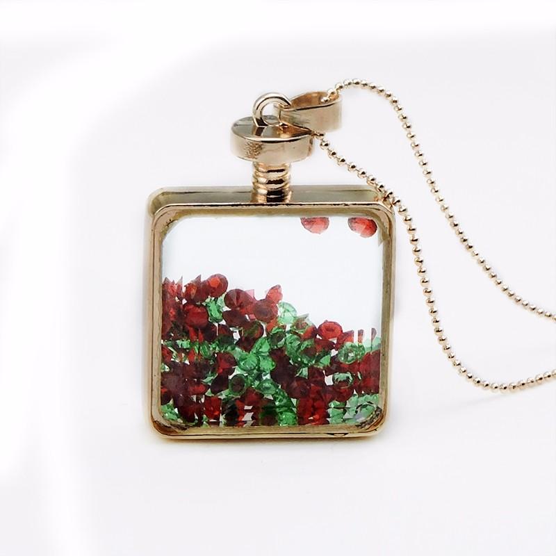 Moda rhinestone rojo Marcos collar cuadrado cristal colgante lindo ...