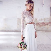 White Vintage Lace Two Piece Prom Dresses 2016 Long ...