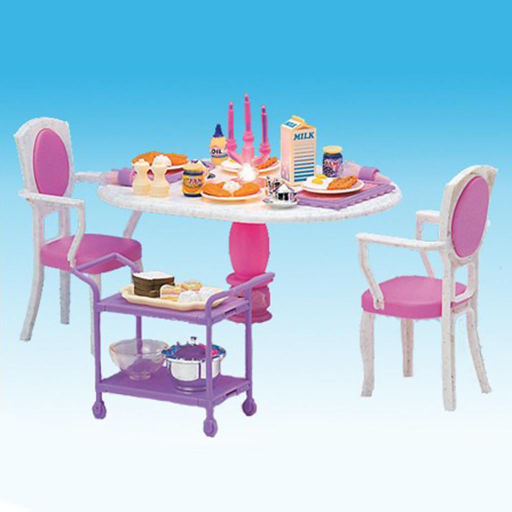 Barbie Esszimmer | 1 6 Esstisch Stuhl Lebensmittel Fur Barbie Puppenhaus Esszimmer