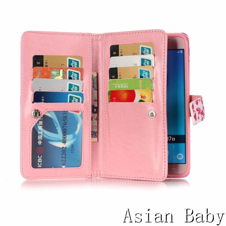 Click here!! Étui en cuir Flip 9 Fente Pour Carte Portefeuille Stand Mobile  Couverture de Téléphone Fundas Para Coque pour Samsung Galaxy J7 2016 J710  ... a3e988efa89