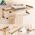 Antique Brass Wall Mounted Brass Bath Towel Rack Towel Bar Bathroom Storage Shelf Bath Hardware Sets