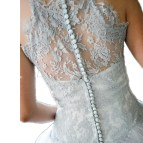 Silver Halter Lace Wedding Dress
