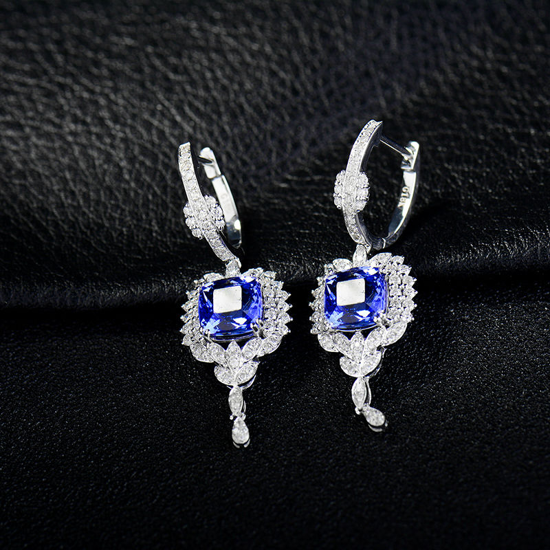 Élégant 4 ct Tanzanite Taille Princesse Argent Sterling 925 Boucles D/'oreilles Clou