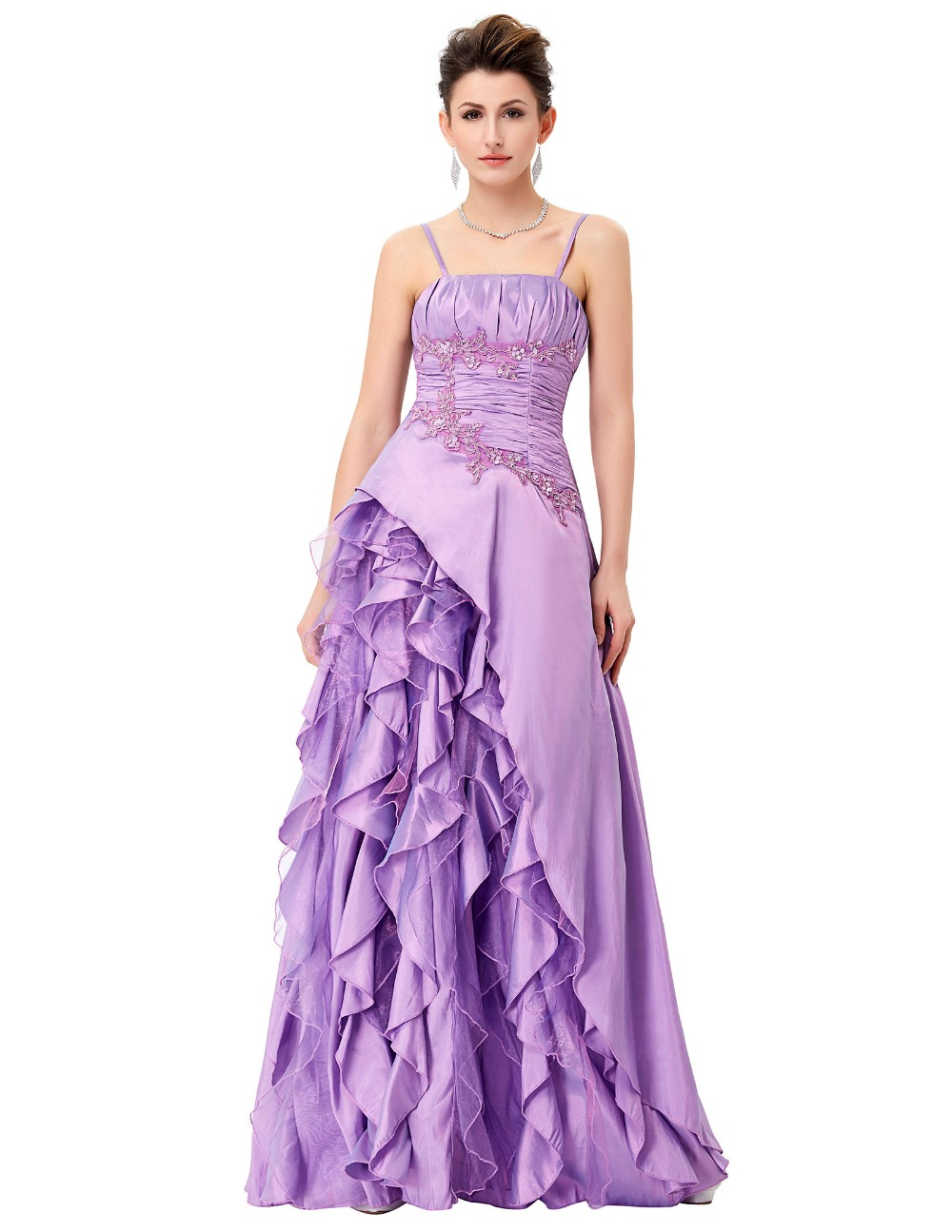 ₪Gracia Karin púrpura vestido de noche largo Banquete de novia ...