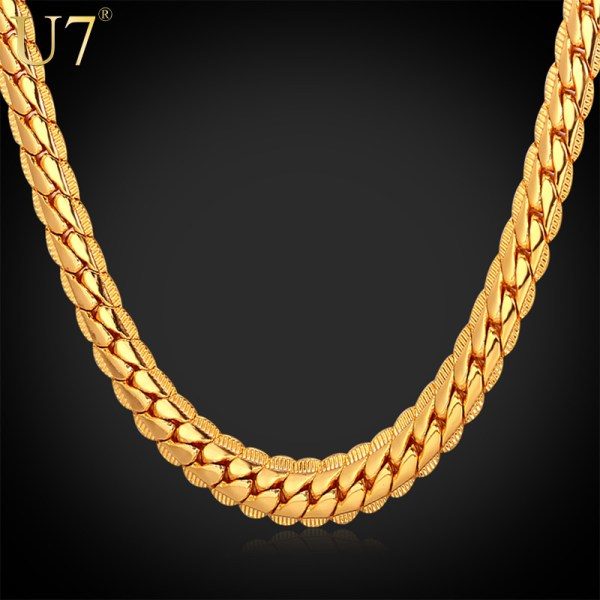 """18k Real Gold Plated Necklace With """"18k"""" Stamp Men Jewelry"""