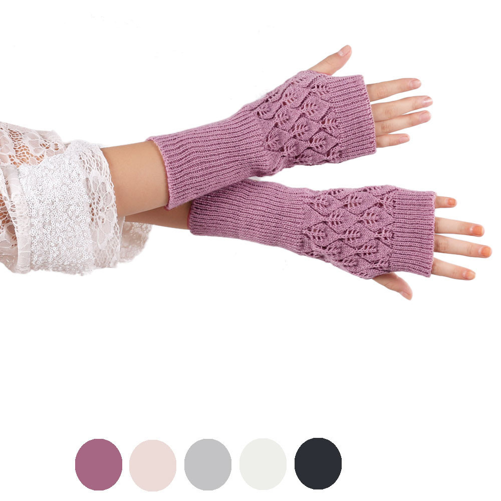 ୧ʕ ʔ୨Increíble muñeca de punto guantes sin dedos mujeres Guantes ...