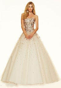 Designer Sparkly Gold Prom Dresses 2016 Ball Gown