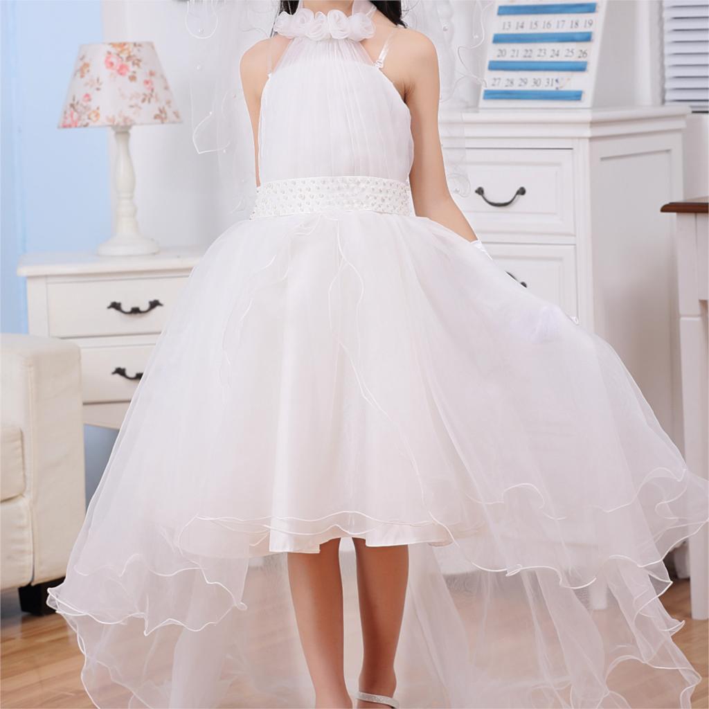 Princess formal dresses fancy dresses for girls white long
