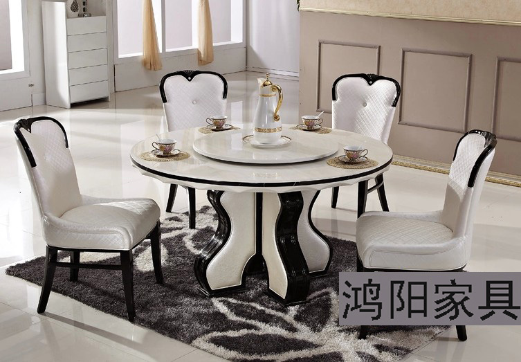 IKEA white marble dining table round table turntable