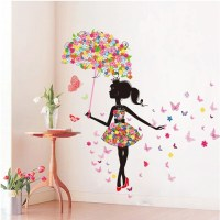 DIY Wall Stickers PVC large wall sticker; Pink girl ...