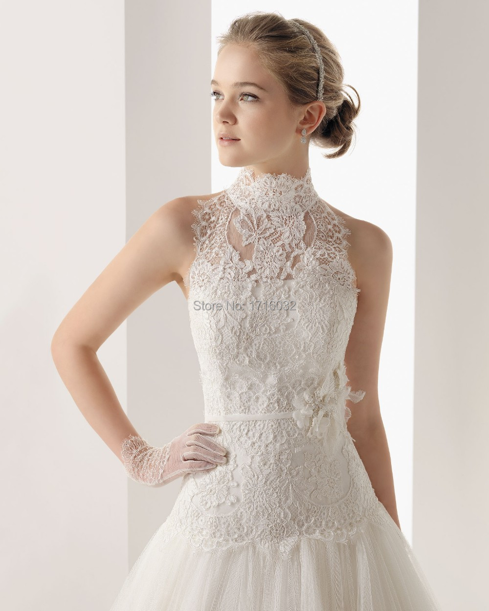 2015 Light Ivory Lace And See Through Wedding Dress Peplum High Neck Bride Dress Princess