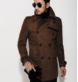 Brown 2016 new autumn winter Double breasted wool coat men fit slim mens pea coat woolen