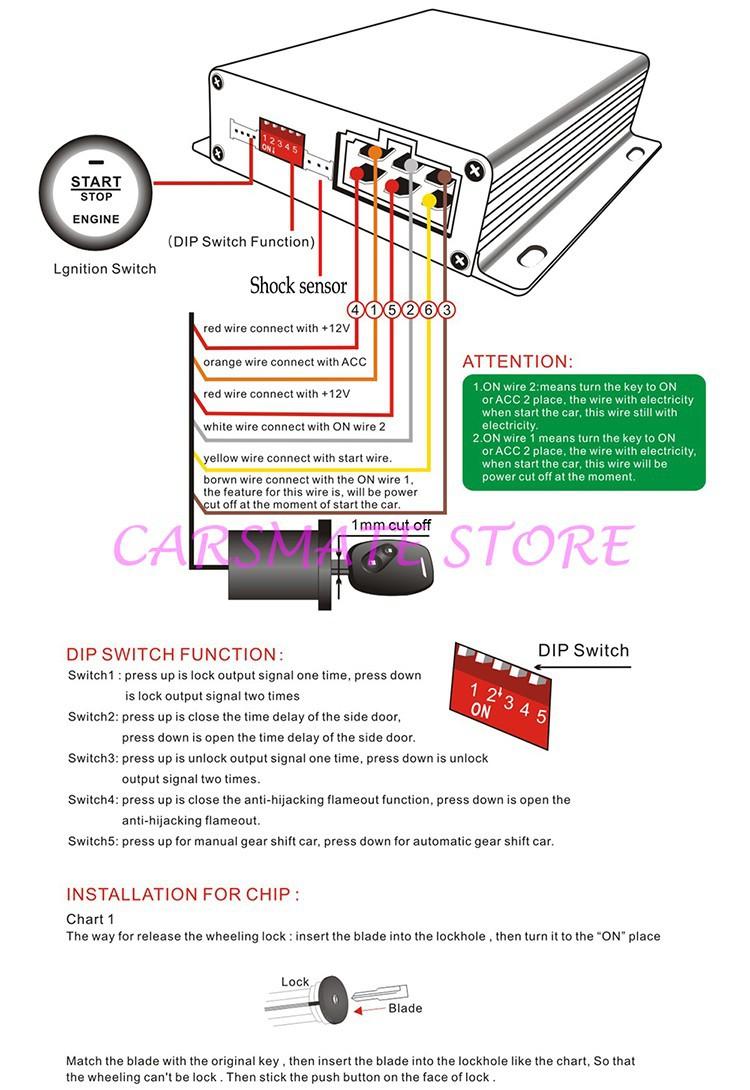 ₪CPE Système D'alarme De Voiture avec Démarrage À Distance/Push ...