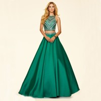 L0025 2016 Green Two Piece Prom Dress with Crystals A line ...