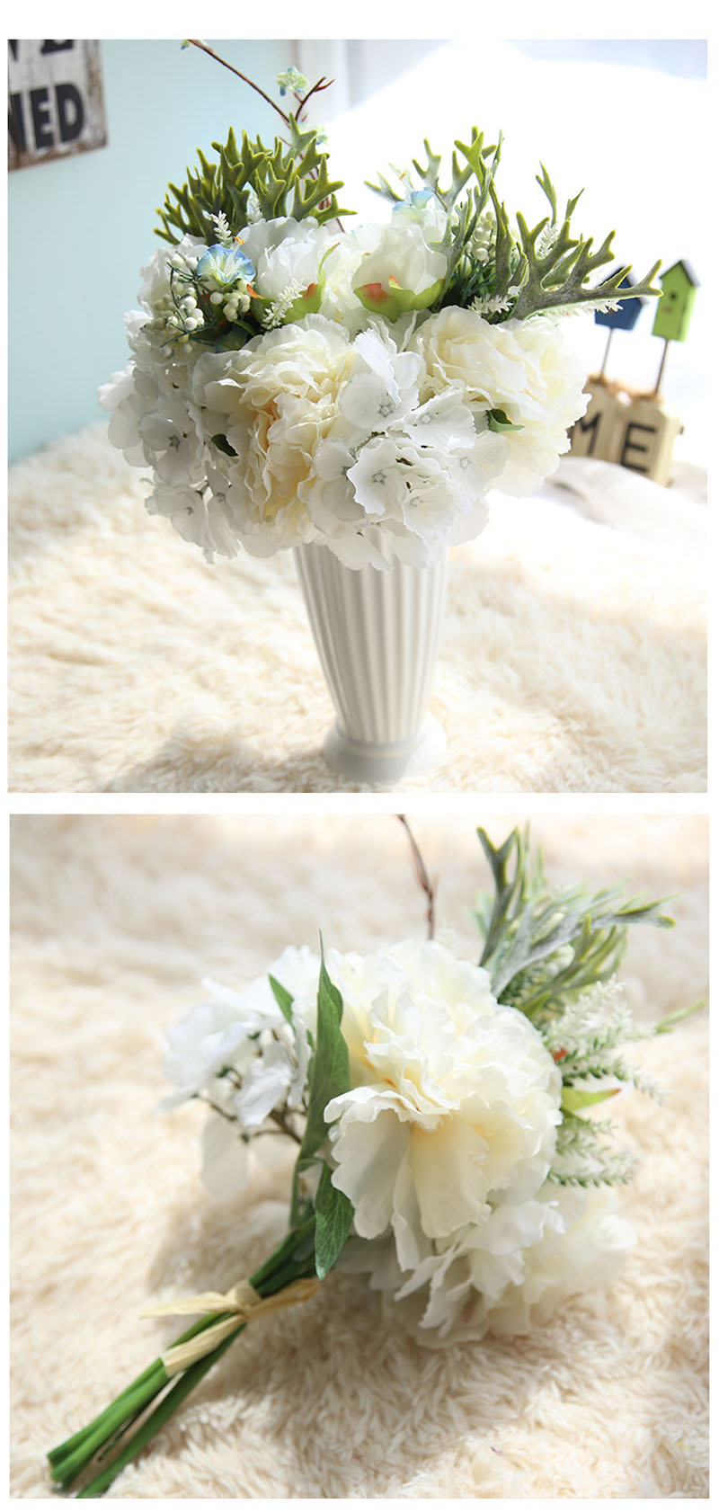 ▻Beautiful Artificial Hydrangea 6 Heads Silk Flowers With ...
