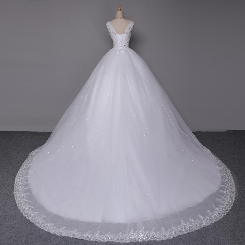 ∞Fansmile Double Shoulder Long Train Lace Ball Wedding Dresses 2017 ... af74408059e2