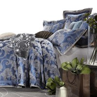 Quality jacquard satin luxury blue wedding bedding ...