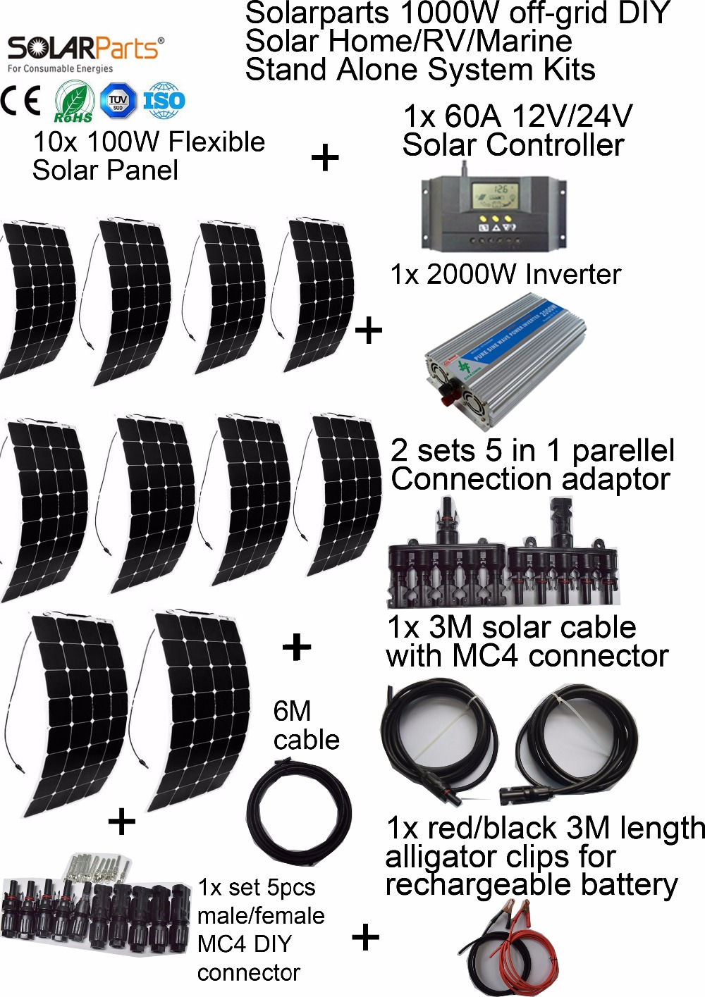 Solarparts 1000W off grid Solar System KITS flexible solar
