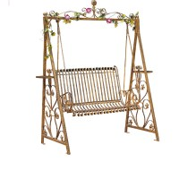 Wrought iron double swing outdoor rocking chairs hanging