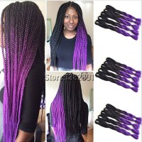 Synthetic Braiding Hair Extensions Two Tone Black&Purple