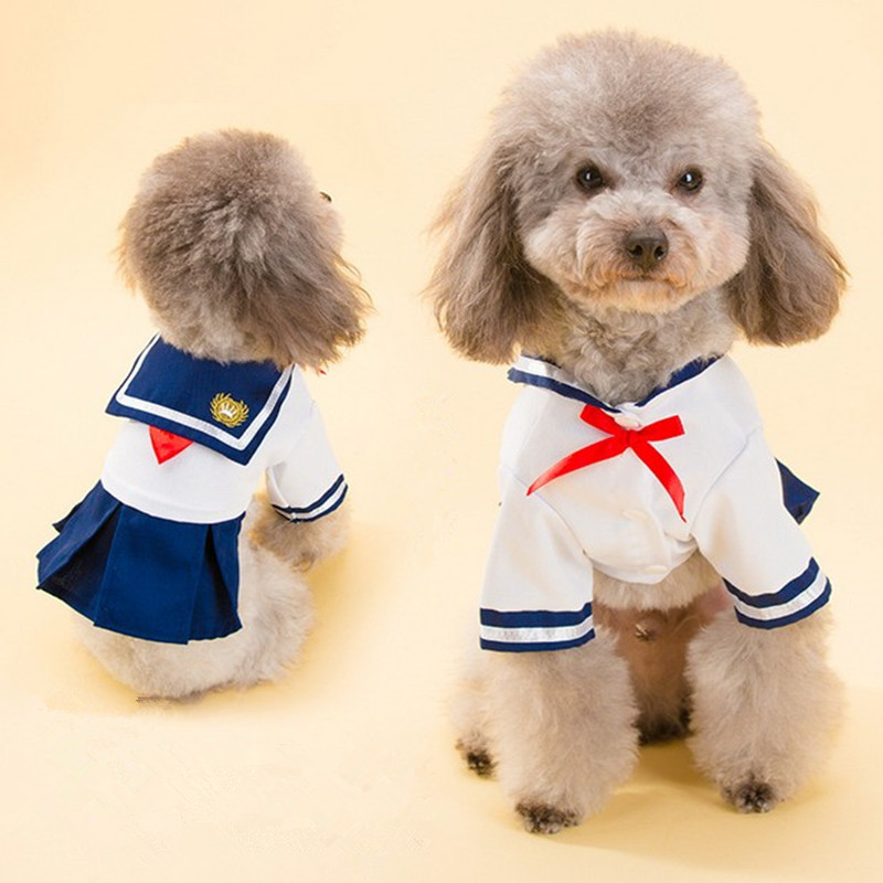 2016 Dog Dress Cat Pet Clothes Navy Style Costume Sailor
