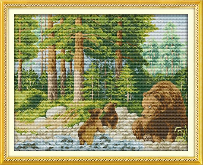 ⑦La felicidad del bosque paisaje Cruz puntada kits 11ct precisa ...