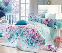 Free Shipping flower blue floral cotton queen size 4pc ...