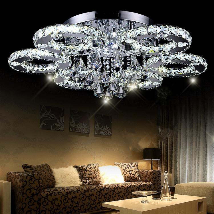 Moderne led kristall deckenleuchte kurze wohnzimmer lampen fhrte kristall kreis deckenleuchte