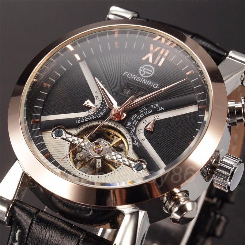 Fashion Mechanical Watch Auto Date Flywheel Men s Sports Watch Analog  Hand-winding Luxury Leather Strap Wrist Watch Men Gifts 84e36bac2d5f