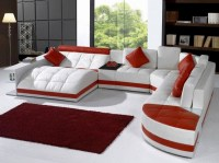 red white leather sectional sofa set modern white red sofa ...