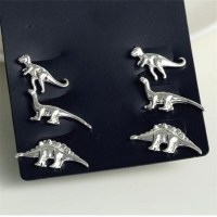 3Pairs/Set Alloy 3D dinosaur dinosaur stud earrings ...