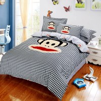 Cartoon monkey bedding set luxury sanding cotton ...