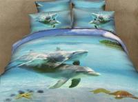 3D blue duvet covers Dolphin Bedding set Girls bed sheet ...