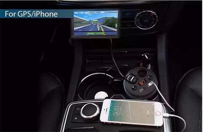 Dual USB מטען לרכב, INSOU 12-24V 3.1 מהיר, מטען לרכב, מטען מחזיק כוסות מכונית מצית לאייפון 7 בתוספת Elphone S7