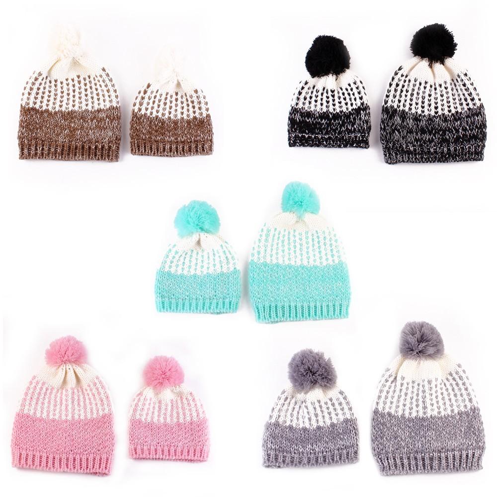 ⊰1 par otoño y el invierno Bebé niños Beanie sombreros crochet knit ...