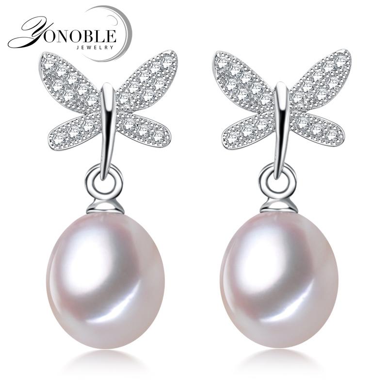 Real Freshwater pearl stud silver earrings for women,nice
